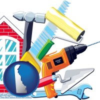 delaware map icon and home maintenance tools