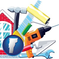 vermont map icon and home maintenance tools